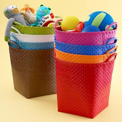 Strapping Floor Bin - Ever since having kids, I've learned that you can never have too many baskets for toy storage. I love that these come in a variety of colors to match any decor!