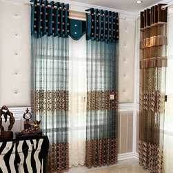 Customized Curtains in Blue Color - up to 90% off market price