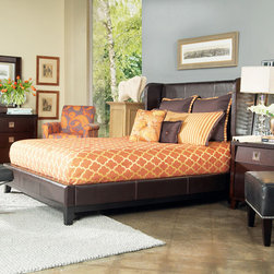 ANGELOHOME - angelo:HOME Marlowe Full-size Bonded Leather Shelter Bed - Crafted from solid mahogany wood and bonded leather, the Marlowe full-size shelter bed has four slats and three leg supports with luxurious padded upholstery. Metal to metal rail fittings ensure easy assembly and durability.