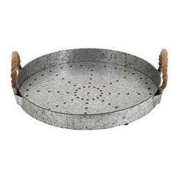 "Benzara - Galvanized Rope Tray Designed with Great Finesse - Galvanized Rope Tray Designed With Great Finesse. Designed with great finesse, this metal Galvanized Rope Tray offers versatile usage as an outdoor decor piece. It comes with a following dimensions 16"" W x 16"" D x 6 "" H. 2 1/2"" H."