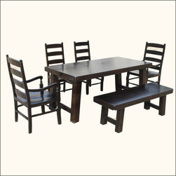 Santa Cruz Contemporary Ebony 6 pc Dining Table Chair Bench Set -