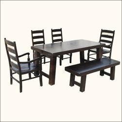 Santa Cruz Contemporary Ebony 6 pc Dining Table Chair Bench Set -