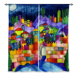 "DiaNoche Designs - Window Curtains Unlined - Dora Ficher Jeruselum Scene - DiaNoche Designs works with artists from around the world to print their stunning works to many unique home decor items.  Purchasing window curtains just got easier and better! Create a designer look to any of your living spaces with our decorative and unique ""Unlined Window Curtains."" Perfect for the living room, dining room or bedroom, these artistic curtains are an easy and inexpensive way to add color and style when decorating your home.  The art is printed to a polyester fabric that softly filters outside light and creates a privacy barrier.  Watch the art brighten in the sunlight!  Each package includes two easy-to-hang, 3 inch diameter pole-pocket curtain panels.  The width listed is the total measurement of the two panels.  Curtain rod sold separately. Easy care, machine wash cold, tumble dry low, iron low if needed.  Printed in the USA."
