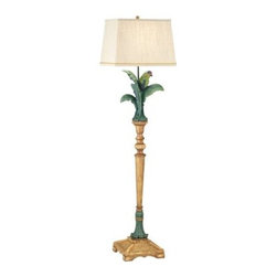 Pacific Coast Lighting Tropical Parrot Floor Lamp - If you can't get enough of traveling to the tropics the Pacific Coast Lighting Tropical Parrot Floor Lamp brings the tropics to your home! Hand-painted with multiple colors, this fun floor lamp features a decorative resin parrot perched upon leaves for a better view of your home. Completing the look of this lamp is a beige rectangle linen shade that hides the easy to use on/off switch socket. Masterly crafted with beautiful detailing, this floor lamp is sure to ease the waiting time in between traveling to your favorite get-away spot. Requires one 150-watt medium base bulb (not included).About Pacific Coast LightingPacific Coast Lighting was founded in 1979. Since then they have set a standard of excellence for the entire lighting industry. They have built a reputation for innovative design, quality workmanship, and market responsiveness. Pacific Coast Lighting has its own house brand and is the exclusive lighting and accessory manufacturer for several of today's prestigious lifestyle brands. Kathy Ireland Home and National Geographic Home collections are two of these well-respected lines.