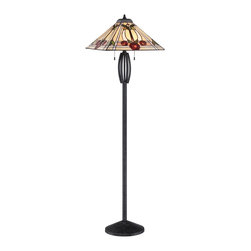 """Quoizel - Tiffany Quoizel Ruby Tiffany-Style Floor Lamp - Tiffany-style floor lamp. Vintage black finish. Steel construction. Tiffany-style art glass shade with floral motif. From the Quoizel Ruby collection. Two maximum 75 watt or equivalent medium base bulbs (not included). On/off pull chain switches. 60"""" high. Shade is 17"""" wide.  Tiffany-style floor lamp.  Vintage black finish.  Steel construction.  Tiffany-style art glass shade with floral motif.  From the Quoizel Ruby collection.  Two maximum 75 watt or equivalent medium base bulbs (not included).  On/off pull chain switches.  60"""" high.  Shade is 17"""" wide."""