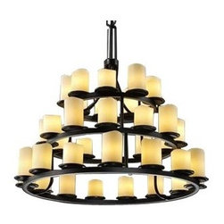 """Justice Design Group - CandleAria Dakota 3-Tier Ring Chandelier by Justice Design Group - Enrich the home with the romance of candlelight. The Justice Design CandleAria Dakota Three-Tier Ring Chandelier combines atmosphere enhancing faux candle shades with the strength of hand-forged chandelier rings. A bold transitional fixture that will look stunning in large dining rooms or halls.Justice Design Group offers a wide array of lighting solutions for residential and commercial settings. Create a mood, complement a theme, or add the perfect accent with a JDG decorative lighting fixture.The Justice Design CandleAria Dakota Three-Tier Ring Chandelier is available with the following:Details:Cylindrical faux candle shadesMetal frameCeiling canopy72"""" chain120"""" wireUL Listed for damp locationsOptions:Shade: Cylinder Flat Rim, or Cylinder Melted Rim (shown).Finish: Dark Bronze (shown), or Matte Black.Glass Color: Amber (shown), or Cream.Number of Lights: 36 Lights (shown), or 45 Lights.Lighting:36-Light option utilizes thirty-six 40 Watt 120 Volt Type G-16.5 Incandescent lamps (not included).45-Light option utilizes forty-five 40 Watt 120 Volt Type G-16.5 Incandescent lamps (not included).Shipping:This item usually ships within 1 to 2 weeks."""