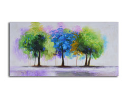 Blue and green copse Hand Painted Canvas Art - Triple treat. This trio of trees is rendered in a soothing palette of colors that will add a bit of calm to your space. The canvas is hand painted by the artist for one-of-a-kind character.
