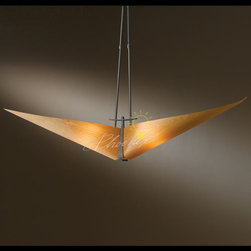 Kirigami Two Light Medium Pendant - Soft forms, like luminous flower petals, define the Kirigami collection. The Kirigami Two-Light Medium is a contemporary architectural pendant that creates dramatic possibilities. Available in choice of spun amber, spun frost, or cherry shade. Choose between three adjustable stem options to best fit your interior space. Suitable for damp locations. Defined by the craftsmanship of Hubbardton Forge.