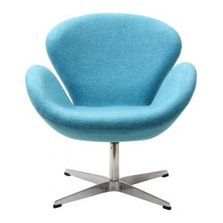 Arne Jacobsen Style Swan Chair in Baby Blue - In every sense of the word the Swan Chair is a true classic that will never go out of style. The chair was designed in 1958 and was developed for the lobby and reception areas at the Royal Hotel in Copenhagen, and Poly+Bark's Replica is of the highest quality.