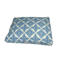 """Lava - Block Print 27 x 36 Pet Bed - Printed cotton cover. Zippered cover is best washed on gentle cycle. Hang to dry. Insert filled with ecofriendly recycled fiber. Measures 27x36"""". Imported."""