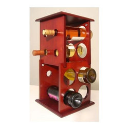 Proman Products - Fuji 2 Layer Wine Rack - Hold eight bottles. Square side panels with circular cutouts. Ideal to put on counter top or table top. Also severs a pedestal for display. Mahogany finish. 9.25 in. W x 9.25 in. D x 19 in. H