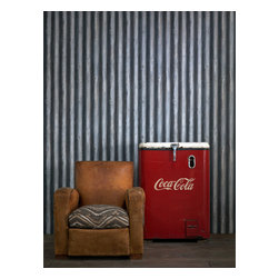 Kathy Kuo Home - Industrial Loft Palmer Corrugated Steel Wallpaper - Steel - Bring a quirky trompe l'oeil effect to your favorite eclectic setting. This coated wallpaper realistically mimics corrugated metal for a cool industrial-chic vibe.