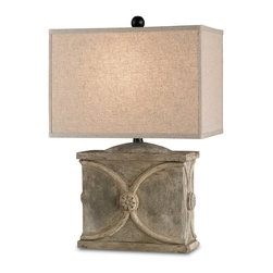 Currey and Company - Waldenbury Table Lamp - Showcasing a distressed concrete base with elegant circular detailing, the transitional Waldenbury table lamp lends living rooms and home offices striking intrigue. Juxtaposed with a rectangular natural linen shade for a clean complement, this statement-making light fixture's neutral color way makes it an easy partner to a variety of palettes.