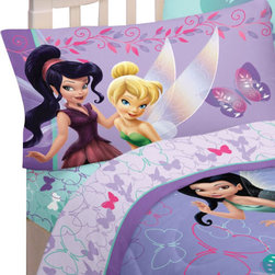 Franco Manufacturing Company Inc - Disney Fairies Sparkling Butterflies 4pc Full Bed Sheets Set - Features: