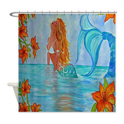 usa - Wisdom Seeker Mermaid Shower Curtain - Beautiful shower curtains created from my original art work. Each curtain is made of a thick water resistant polyester fabric. The permanently applied art work appears on the front side with the inside being white. 12 button holes for easy hanging, machine washable and most importantly made in the USA. Shower rod and rings not included. Size is a standard 70''x70''