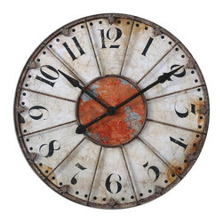"Uttermost - Uttermost 06664  Ellsworth 29"" Wall Clock - Crackled ivory face with rust red accent and rustic bronze metal details. quartz movement."