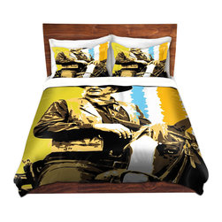 DiaNoche Designs - Duvet Cover Twill - The Duke - Lightweight and soft brushed twill Duvet Cover sizes Twin, Queen, King.  SHAMS NOT INCLUDED.  This duvet is designed to wash upon arrival for maximum softness.   Each duvet starts by looming the fabric and cutting to the size ordered.  The Image is printed and your Duvet Cover is meticulously sewn together with ties in each corner and a concealed zip closure.  All in the USA!!  Poly top with a Cotton Poly underside.  Dye Sublimation printing permanently adheres the ink to the material for long life and durability. Printed top, cream colored bottom, Machine Washable, Product may vary slightly from image.
