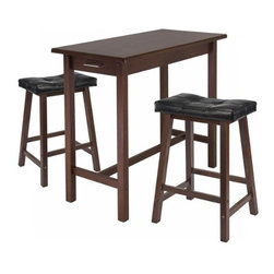 Winsome Wood - Kitchen Island Table with 2 Seat Stools, Set of 3 - Now enhance your kitchen with our Island Table that comes in 3 piece - includes 1 table and 2 mona cushioned saddle seat stools. Cushion is made of faux leather in black with solid wood frame in antique walnut finish. This Table features 2 drawers with metal handle at both the ends.