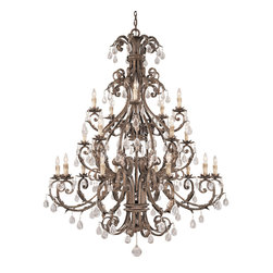 Savoy House - Chastain 20-Light Chandelier - Now you can hang style and grace in your home in the form of this stunningly opulent chandelier. The delicate details of the cast-iron leaves and crystal drops will make you want to gaze at this piece for hours. The silver finish adds just the bit of shine needed to make the light truly sparkle.