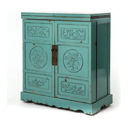 Four Hands - Wine Cabinet, Aqua - Hand-carved details, rustic hardware and venerable Far East elements combine to make this traditional wine cabinet a standout. As a bonus, this adorable cabinet stores up to 34 bottles and 40 wineglasses.