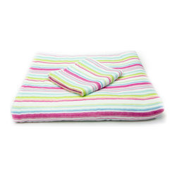 Quick-Dry Striped Towels Set - Multicolor - Made of 100% cotton, these Quick-Dry Striped Towels instantly add colorful life to your bathroom. Not just for decoration, these lightweight towels are highly absorbent yet dry quickly due to their unique two-sided construction. While one side glides over you with the softest of soft cotton, the other has a looped terrycloth pile for added after-shower absorption. Handmade in Japan.