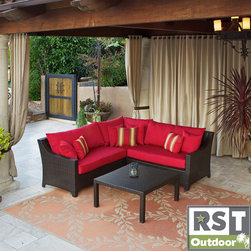 Red Star Traders - RST Cantina 4-piece Outdoor Sectional Set - This four-piece outdoor sectional set from Cantina is perfect for adding a comfortable place for family and guests to relax on your patio. The espresso-finished three-piece sofa and coffee table will add a touch of sophistication and elegance.