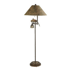"Frederick Cooper - Coastal Frederick Cooper Polly By Night Floor Lamp - This designer ""Polly by Night"" floor lamp with a fabric shade and hand toned cast brass parrot with night light is a perfect addition to your tropical decor. Bronze finish. From the Frederick Cooper floor lamp collection. Takes two 100 watt bulbs (not included). Includes one 15 watt night light bulb. 63"" h.  Bronze finish.  Includes one 15 watt night light.  63"" High.  Takes two 100 watt bulbs (not included)."
