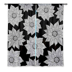"DiaNoche Designs - Window Curtains Lined - Pom Graphic Design Elegant Floral - Purchasing window curtains just got easier and better! Create a designer look to any of your living spaces with our decorative and unique ""Lined Window Curtains."" Perfect for the living room, dining room or bedroom, these artistic curtains are an easy and inexpensive way to add color and style when decorating your home.  This is a woven poly material that filters outside light and creates a privacy barrier.  Each package includes two easy-to-hang, 3 inch diameter pole-pocket curtain panels.  The width listed is the total measurement of the two panels.  Curtain rod sold separately. Easy care, machine wash cold, tumbles dry low, iron low if needed.  Made in USA and Imported."