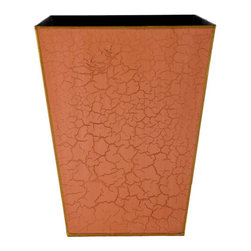 Tapered Metal Waste Basket - This crackled finish waste basket in orange adds a wonderful hit of color!