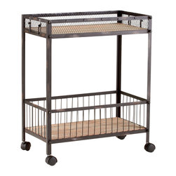 Cyan Design - Cyan Design Desmond Cart X-07840 - Metal and wood mix together beautifully for a rustic-meets-contemporary charm to this clean lined Cyan Design cart. Perfect for mini bars, kitchen areas, bathrooms and more, this cart from the Desmond Collection features two levels for storage, rolling wheels for functionality and a blend of raw iron and stunning natural wood.