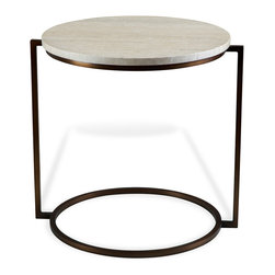 Kathy Kuo Home - Bauhaus Cream Travertine Round Side End Table - Reminiscent of Bauhaus era minimalism and the ebullient reinterpretation of it expressed by Italian designers in the 1980s, this oval side table makes maximum impact using the sparest of lines.    With a beige travertine surface and blackened metal base, it is perfect for Industrial Loft and contemporary style spaces alike.