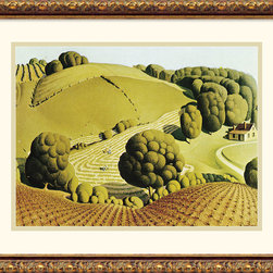 """Amanti Art - Young Corn, 1931 Framed Print by Grant Wood - """"I realized that all the really good ideas I'd ever had came to me while milking a cow. So I went back to Iowa"""". Grant Wood. An American Master, Grant Wood is famous for his unique painting style that proudly captures the rural Midwest that so inspired him."""