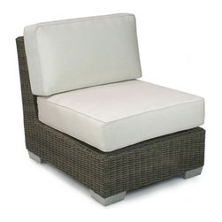 Patio Heaven Palisades Armless Center Chair - Our modular Patio Heaven Palisades Armless Center Chair floats in our sectional with class and comfort. This highly functional piece can also be used independently as a slipper chair. No matter what way you choose to style the Armless Center Chair, you will enjoy relaxing on the custom made plush cushion. Manufactured in the USA from weather-resistant Sunbrella fabric, a high-density foam and wrapped in durable Dacron for extra comfort, you can revel in the style and tranquility of this piece year round.About Patio HeavenWith over 40 years of experience in working with top manufacturers and designers, Patio Heaven brings you signature collections with both classic and modern design elements. Drawing inspiration from the ocean to the mountains and everywhere in between, Patio Heaven lets you bring your sense of style to your outdoor living space. Their furniture looks great in any season and any region. With furniture from Patio Heaven, you don't just pick out patio furniture ñ you choose a lifestyle.