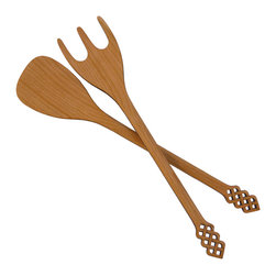 """MoonSpoon® - 11"""" Salad Server Set, Celtic Design - Whether you're tossing grocery store iceberg or local, organic micro-greens, wooden your next salad look even better with this set? The gorgeous carved wood features flame-edged cutouts on the handles and bodies for an extra splash of style."""