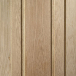 """Contemporary 3-panel Solid Red Oak Door - This is a """"prairie"""" style 3 panel door featuring marginal panels and a wider center panel. This door is made from solid Red Oak hardwood. The simple, square design is great for modern or contemporary homes, but also would suit traditional homes. The picture shows the wood unfinished, but Red Oak is easy to stain about any color."""