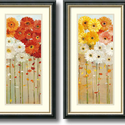 Amanti Art - Daisies Fall - set by Danhui Nai - With an eye for light, color and composition, artist Danhui Nai creates charming images sure to brighten any wall. These lovely, floral art print blooms with Daisies all year long.