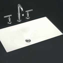 "KOHLER - KOHLER K-2826-0 Iron/Tones Cast Iron Undercounter/ Self-Rimming Lavatory, 24-3/4 - KOHLER K-2826-0 Iron/Tones Cast Iron Undercounter/ Self-Rimming Lavatory, 24-3/4"" x 15-5/8"" in White"