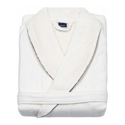 Kassatex - Kassatex Waffle Terry Bathrobe Collection, White - You get the best of all worlds with this luxurious bathrobe. You get the soft indulgence of terry against your skin and on the shawl collar. You get a crisp and absorbent waffle weave on the outside. And you get it all in 100 percent Egyptian cotton. Get it? Now get it!