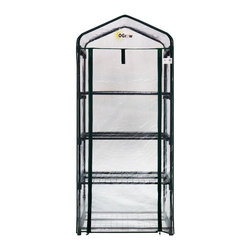 King Service Holding Inc - Ogrow Ultra-Deluxe 4 Tier Portable Bloomhouse Greenhouse - OG2719-4T - Shop for Greenhouses from Hayneedle.com! Whether you have ample space or only a small porch the Ogrow Ultra-Deluxe 4 Tier Portable Bloomhouse Greenhouse provides plenty of room so you can grow your favorite plants flowers and vegetables all summer long. Constructed from heavy duty powder-coated steel shelving that will not rust these shelves are strong enough to hold your heaviest plants and pots while still providing ample room to grow. Its strong and durable clear cover will not crack or fade and features a velcro hook and loop connection and rolls up for easy access. Its roll-up design also allows you to control ventilation and moisture so your plants stay healthy. Made to give you a head start on the growing season this greenhouse is perfect for displaying your greenery in the full sun. High quality plastic connectors for easy assembly are included and no hardware is needed for assembly. Additional Features Entrance measures 20W x 54H in. Plenty of room for your plants to grow Roll-up cover for easy access Allows for ventilation and moisture control Cover will not fade or crack in the sun Perfect for displaying greenery in full sun High quality plastic connectors for easy assembly Gives you a head start on the growing season Fits in almost any garden Quality materials for long-lasting durability No hardware needed for assembly Specification: Note - Ties to attach the shelves to the frame and anchors to attach the greenhouse to the ground are not included in this purchase.