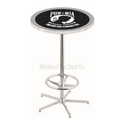 Holland Bar Stool - Holland Bar Stool L216 - 42 Inch Chrome Pow/Mia Pub Table - L216 - 42 Inch Chrome Pow/Mia Pub Table  belongs to General Motors Collection by Holland Bar Stool Made for the ultimate sports fan, impress your buddies with this knockout from Holland Bar Stool. This L216 POW/MIA table with retro inspried base provides a quality piece to for your Man Cave. You can't find a higher quality logo table on the market. The plating grade steel used to build the frame ensures it will withstand the abuse of the rowdiest of friends for years to come. The structure is triple chrome plated to ensure a rich, sleek, long lasting finish. If you're finishing your bar or game room, do it right with a table from Holland Bar Stool.  Pub Table (1)