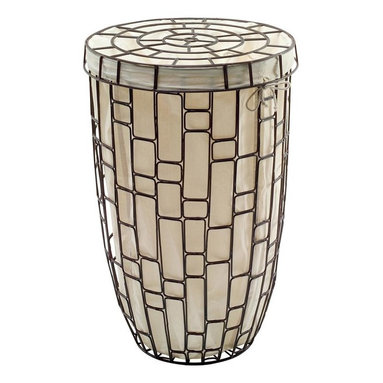 WS Bath Collections - Sesti Metal Laundry Basket with Lid and Cotto - Made by Lineabeta of Italy. Product Material: Metal with Lid and Cotton Bag. Finish/Color: Silver. Dimensions: 16.9 in. Diameter x 25.6 in. H