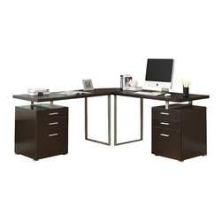 Monarch Specialties - Monarch Specialties I 7026-3 Cappuccino 3 Piece Hollow-Core L-Shaped Desk Set - Creating a striking look to your home office. This simple yet practical cappuccino finish hollow-core 3pc desk set is the perfect addition to your home office. With the addition of the wedge corner unit between the desk, it helps to create space for a more generous work station. The mobile side drawers provide you with space to store office supplies, papers, books, files folders, and plenty more. Use the spacious table top for your computer, a lamp and even some pictures. Desk (2), Corner Wedge (1)