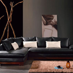 Stylish Curved Sectional Sofa in Leather with Pillows - Features: