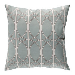 "Surya - Geometric Design Square Pillow ZZ-408 - 18"" x 18"" - Fashion an aesthetically pleasing and gallantly geometric look for your space with this pristine pillow. As graphic as it is glamorous, this piece offers a geometric design in brilliant blue juxtaposing bold lines and smooth circles . This pillow provides a reliable and affordable solution to updating your indoor or outdoor decor."