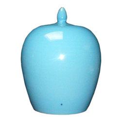 Golden Lotus - Simple Plain Pastel Blue Glaze Porcelain Vase Jar - This is a clean simple porcelain jar glazed with plain pastel blue color.