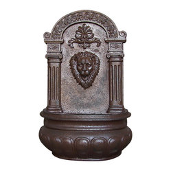 Imperial Lion Outdoor Solar Wall Fountain, Iron