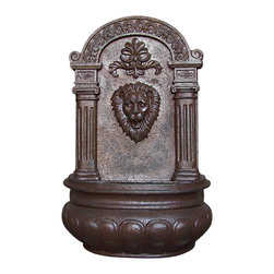Sunnydaze Decor - Imperial Lion Outdoor Solar Wall Fountain, Iron - You won't be able to hear this lion roar, but you can listen to the peaceful sounds of flowing water from this classic outdoor fountain, when you mount it on the wall of your garden or patio. This solar powered fountain is made from lovely and durable polystone, an innovative material that you'll adore in your backyard for years to come.