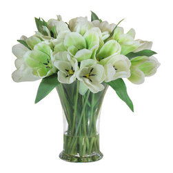 Jane Seymour Botanicals - Tulips 19-Inch Glass Vase - Here's something your florist doesn't want you to know: You can enjoy the delicate beauty of fresh-cut tulips in your home year-round with this exceptionally lifelike permanent tulip arrangement, featuring a water illusion in the graceful glass vase for an even more realistic effect. Place it in your bedroom, living room, foyer or just about anywhere for an elegant, uplifting effect.