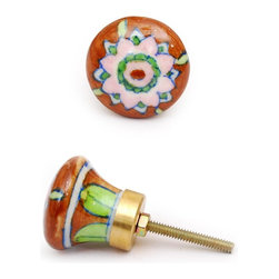 "Knobco - Single Flowers Knob, Brown, Green And Pink Flower - Brown, green and pink flower designer knobs from Jaipur, India. Unique, hand painted cabinet knobs for your kitchen cabinets. 1.5"" in diameter. Includes screws for installation."