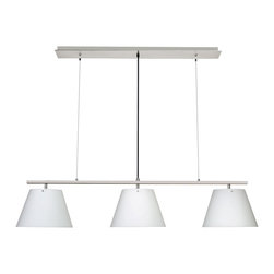 Dainolite - Dainolite 63403-SC 3 Lite Satin Chrome Pendant White Opal Glass Shade - Dainolite 63403-SC 3 Lite Satin Chrome Pendant White Opal Glass Shade With Inner Glass Shade